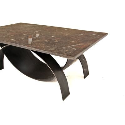 Modernist Coffee Table With Fossil Stone Top 1980s 7