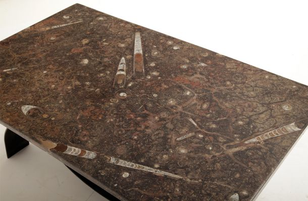 Modernist Coffee Table With Fossil Stone Top 1980s 2