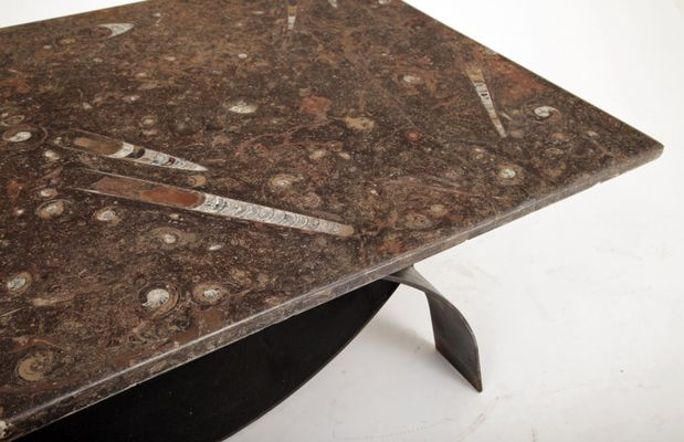 Modernist Coffee Table With Fossil Stone Top 1980s 3