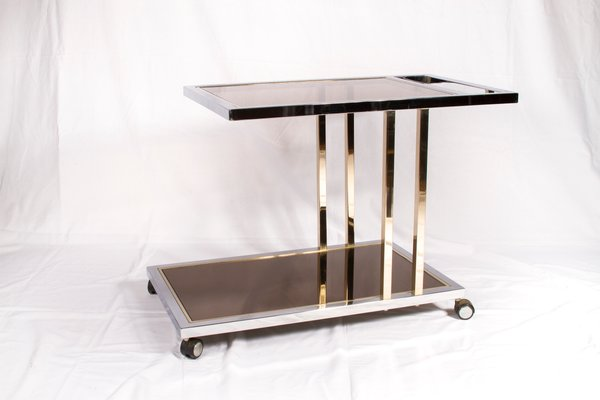 Vintage Gold Plated And Chrome Bar Cart From Belgochrom 1