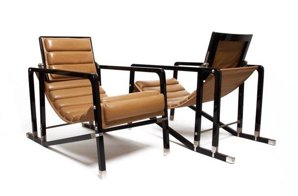 transat chairs by eileen gray for ecart international 1980s set of