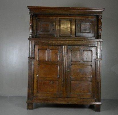 Antique Rustic Oak Court Cupboard 1 - Antique Rustic Oak Court Cupboard For Sale At Pamono