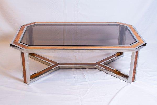Chrome And Wood Coffee Table By Romeo Rega, 1970s 1