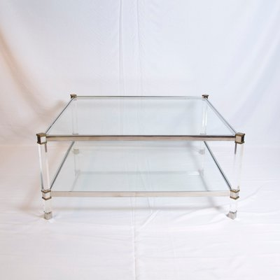Vintage Two Tier Lucite Brass And Aluminum Coffee Table 2