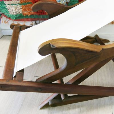 Vintage Portuguese Deck Chair, 1930s 6 - Vintage Portuguese Deck Chair, 1930s For Sale At Pamono