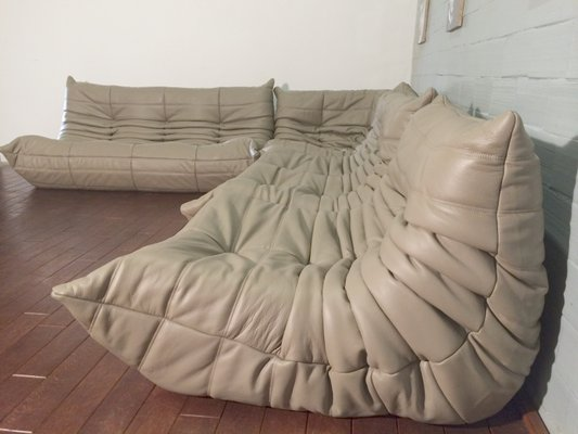 Beige Leather Togo Sofa Set By Michel