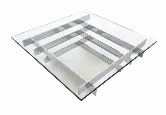 Tavolino da caffè in vetro e acciaio di David Hicks, anni \'60