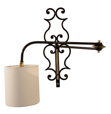 Articulated French Wrought Iron u0026 Brass Wall Sconce ...  sc 1 st  Pamono & Articulated French Wrought Iron u0026 Brass Wall Sconce 1956 for sale ...