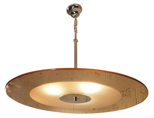 Art Deco Deckenlampe aus Spiegel- und Milchglas bei Pamono kaufen