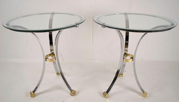Round Chrome Brass End Tables By Maison Jansen 1970s Set Of 2