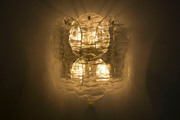 Ice Glass Wall Sconce with 4 Lights from Kalmar, 1960s for sale at ...