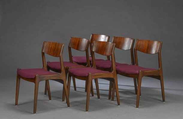Mid Century Danish Rosewood Dining Chairs Set Of 6