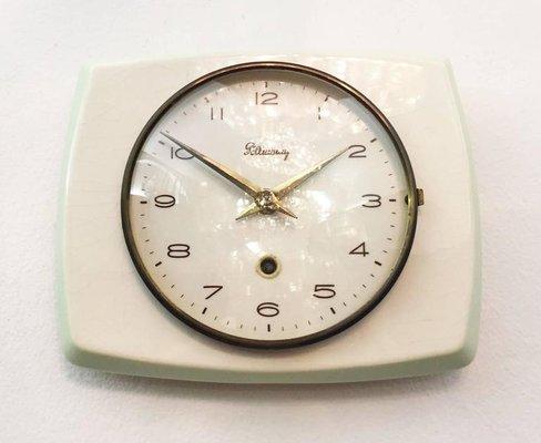 Orologio da parete mid century in ceramica di pollmann anni