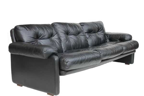 Gentil Coronado Black Leather Sofa By Tobia Scarpa For Bu0026B Italia, ...