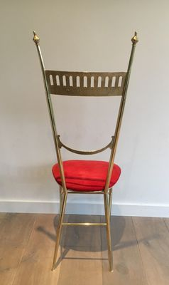 vintage brass side chair with red seat for sale at pamono