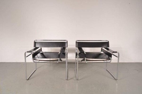 Leather U0026 Steel Wassily Chairs By Marcel Breuer For Gavina, 1960s, ...