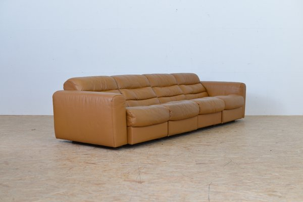 Vintage Four Seater Leather Sofa With