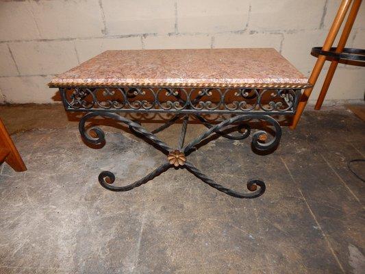 Tavolini In Ferro Battuto Da Salotto.Tavolino Da Caffe Vintage In Ferro Battuto E Marmo Anni 30