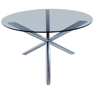 Table De Salon En Chrome Et En Verre Fume Par Roche Bobois 1970s En