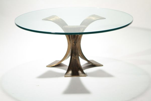 Belgian Glass U0026 Bronze Coffee Table, 1970s 1