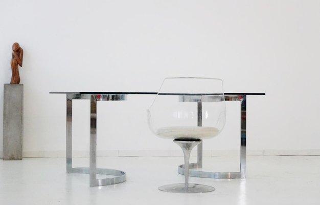 Space Age Chrom & Glas Esstisch von Milo Baughman, 1970er