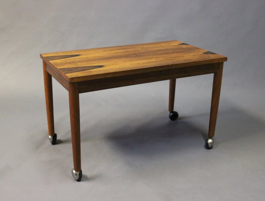Danish Small Rosewood Table On Wheels, 1960s 2