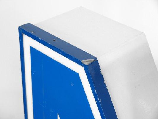 Beleuchteter Buchstabe N In Weiss Und Blau 1970er Bei Pamono