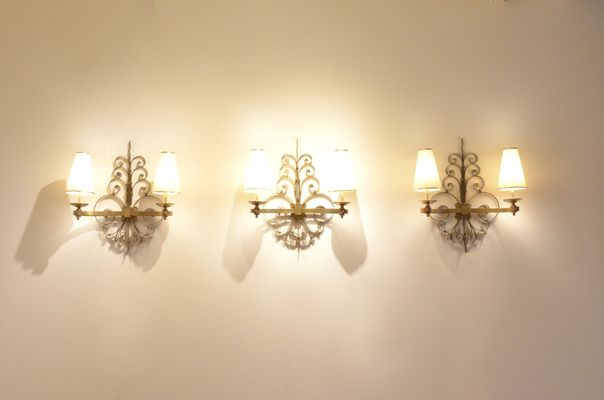 Art Deco Sculptural Brass Wall Sconces, 1930s, Set of 3 for sale at ...