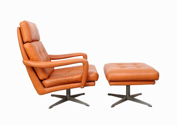Incredible Cognac Leather Lounge Chair Ottoman 1970S Bralicious Painted Fabric Chair Ideas Braliciousco