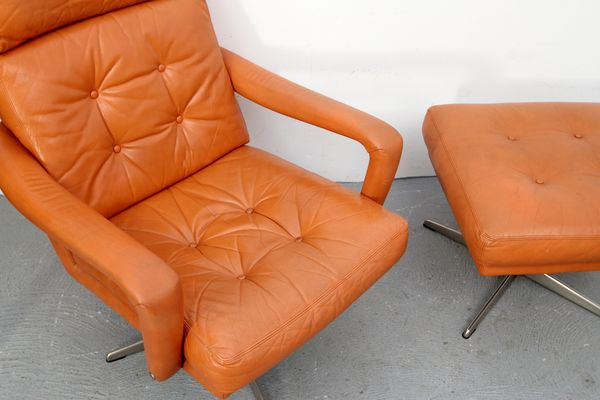Admirable Cognac Leather Lounge Chair Ottoman 1970S Bralicious Painted Fabric Chair Ideas Braliciousco