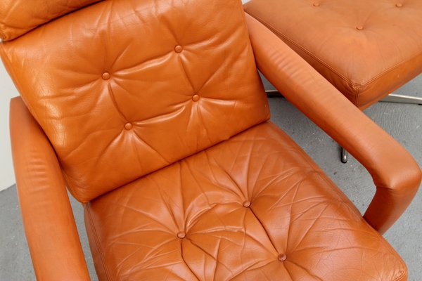 Cool Cognac Leather Lounge Chair Ottoman 1970S Bralicious Painted Fabric Chair Ideas Braliciousco