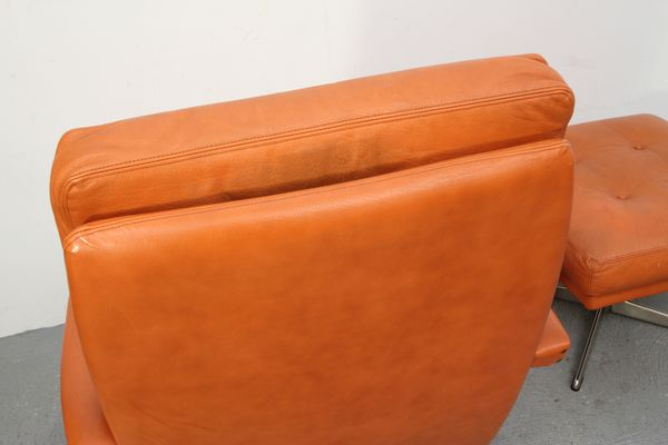 Fine Cognac Leather Lounge Chair Ottoman 1970S Bralicious Painted Fabric Chair Ideas Braliciousco