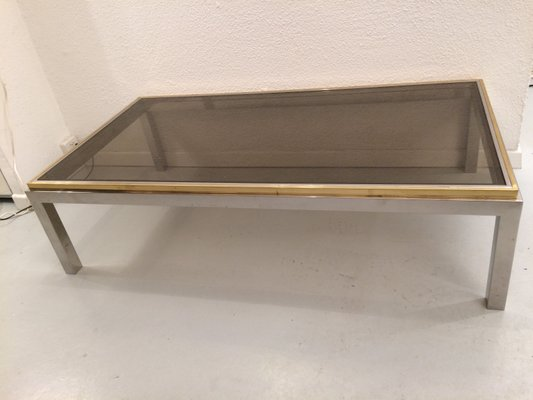 Vintage Glass, Brass, And Chrome Flaminia Coffee Table By Willy Rizzo 1