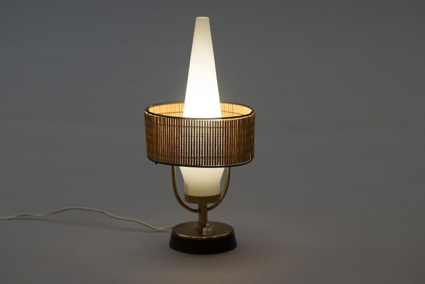 Vintage Italian Table Lamp With Frosted Gl Shade 2