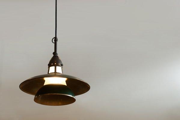 Lampade A Sospensione Vintage : Lampada a sospensione vintage in ottone e vetro smerigliato di lyfa