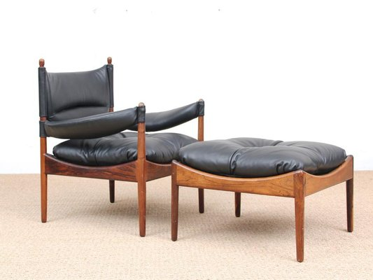 Bon Mid Century Modern Danish Lounge Chair And Ottoman By Kristian Vedel For  Soren Willadsen,