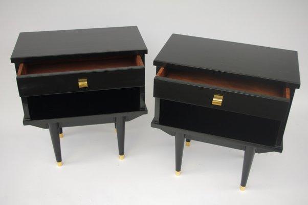 Comodini in legno laccato nero, anni \'50, set di 2 in vendita su Pamono