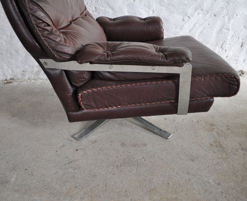 vintage red brown leather chrome lounge chair and stool by arne