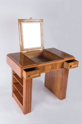 Charmant Art Deco Lemonwood Veneer Vanity Desk, 1930s 6
