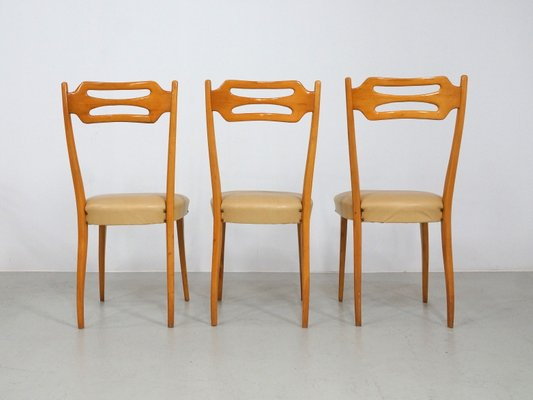 Italian Dining Chairs In Polished Maple, Maple Wood Dining Room Set