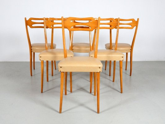 Italian Dining Chairs In Polished Maple Wood Set Of 6