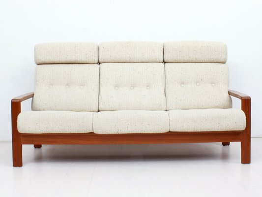 Danish Teak 3 Seater Sofa With Wool Upholstery 1960s 1