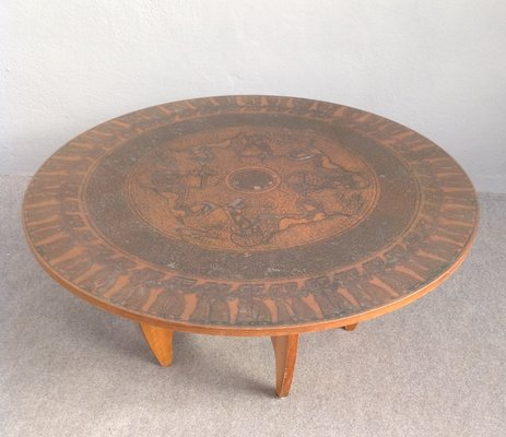 Round Copper Top Coffee Table 1960s 2