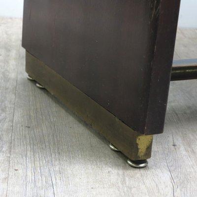 Tavolo vintage in legno con superficie in vetro nero, anni \'50 in ...