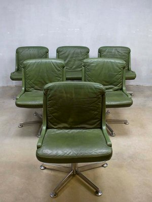Vintage Office Chair With Olive Green Leather 4