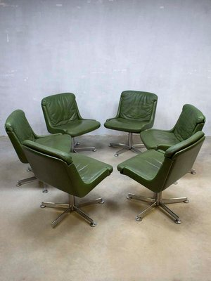 Vintage Office Chair With Olive Green Leather 3