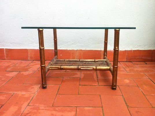 Mid Century Faux Bamboo Coffee Table, 1950s 4