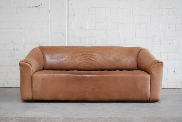 Vintage Ds 47 Cognac Neck Leather Three Seater Sofa From De Sede