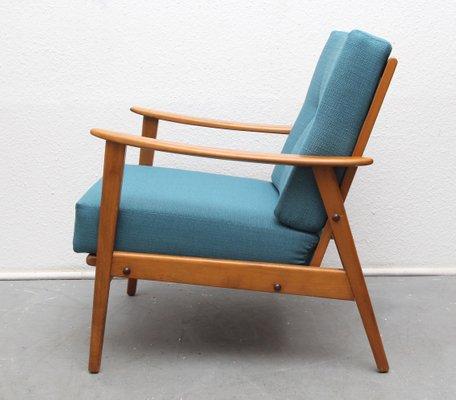 Mid Century Armchair In Dark Turquoise, 1950s 2