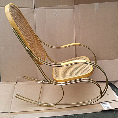 Vintage Gilt Metal U0026 Cane Rocking Chair 2